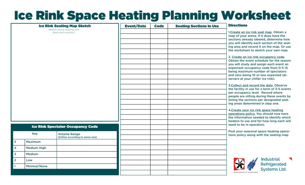 ice rink space heating worksheet